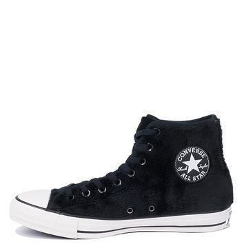 converse all star chuck taylor faux fur textile lined lace up high top fuzzy sneakers