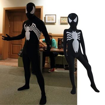 Venom Unisex Kids Adult Black Spiderman Halloween Zentai Cosplay Costume Spider man Spandex Lycra Zentai Bodysuit Jumpsuits