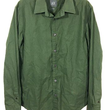 Armani Exchange AX Green Square Geometric Button Down Shirt Green Mens Small S - Preowned