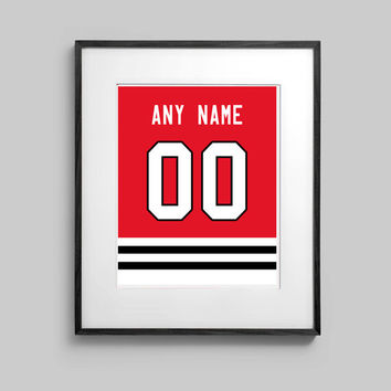 Chicago Blackhawks Poster - Red Jersey Print Custom Made - Select ANY Name & ANY Number - 5x7 - 8x10 - 16x20