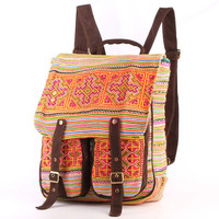 Boho Rucksack, Camping Day Bag College Backpack Ethnic Tribal Embroidered Textiles