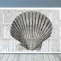 Beach house poster Seashell print Marine print Nautical decor RTA1098
