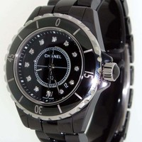Chanel J12 Black Ceramic 33mm Quartz Diamind Dial H1625