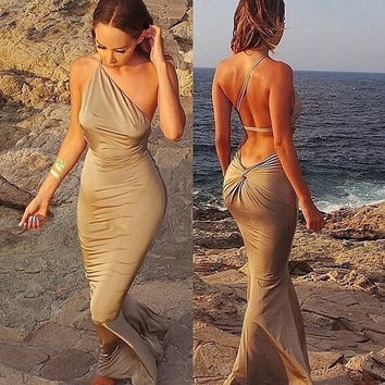 New 2015 Spring Summer Fashion Women Prom Dress Slim Formal Dress Sexy  Strapless Beach Dress = 1956596100