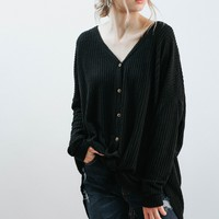 Button Up Waffle Knit (Black)