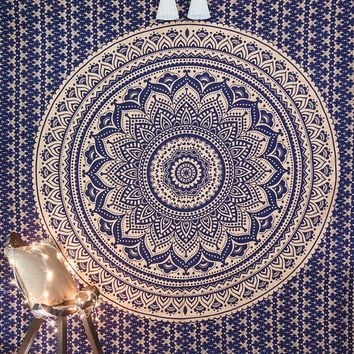 Blue Gold Ombre Indian Mandala Tapestry Hippie Indian Bedspread Dorm Decor Wall Tapestries Queen Size Handmade