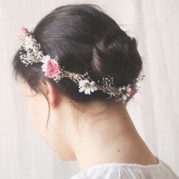 Flower Crown, Rustic Circlet, Bridal Headpiece, Roses, Baby's Breath, Woodland Halo, Wedding Hair Accessories, Bohemian, Country, Yellow