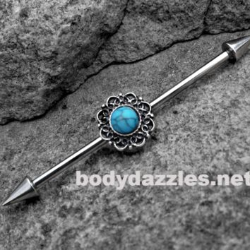 Turquoise Tribal Industrial barbell 14ga Surgical Stainless Steel Ear Bar Body Jewelry