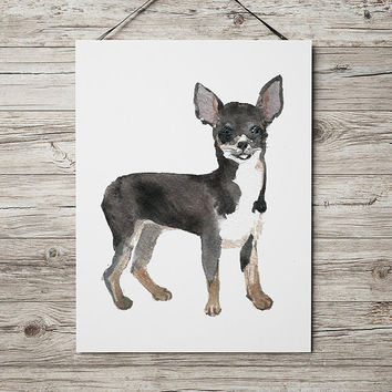 Chihuahua poster Cute nursery decor Watercolor dog print ACW122