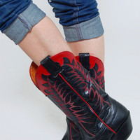 Vintage 80s TWO TONED Cowboy Boots Black & Red Leather NOCONA Western Boots Size 6