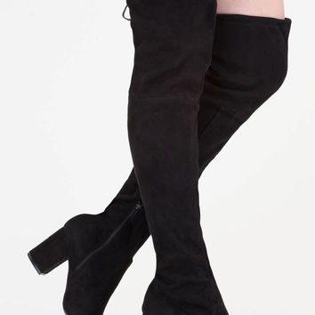 Tie Me Up Chunky Over-The-Knee Boots GoJane.com