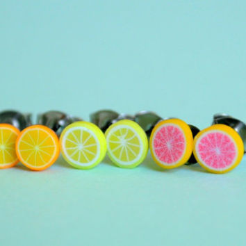 Citrus Orange Lemon and Grapefuit Earring Studs