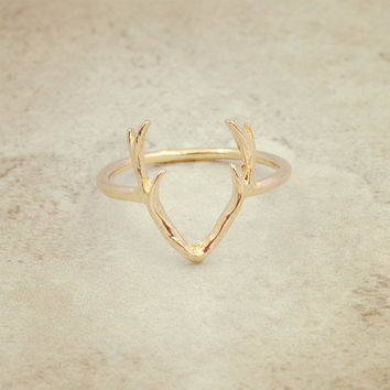 Size 6  accessories jewelry Elk antlers finger ring for women girl nice gift R1556