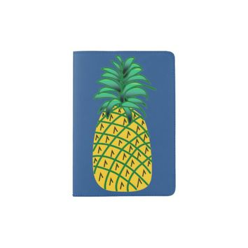Passport Holder with Pineapple Illustration