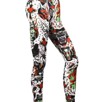 Liquor Brand Crazy Americana Flash Tattoo Print Leggings