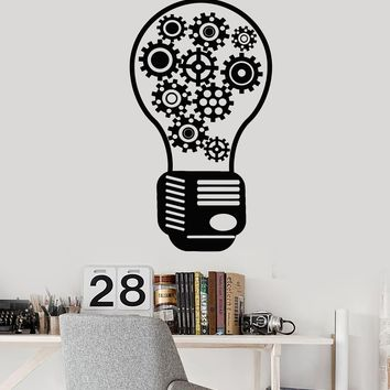 Vinyl Wall Decal Gear Light Bulb Motivational Decor Office Style Stickers Unique Gift (1776ig)