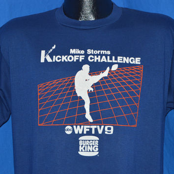 80s Burger King Mike Storms Kickoff Challenge t-shirt Large