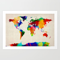 Map of the World Map Painting Art Print by ArtPause