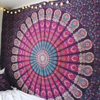 Gypsy Spells Mandala Bedroom Decor Colorful Beach Blanket Purple Pink Turquoise Tangerine