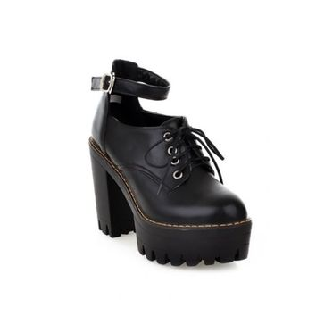 Women Punk Round Toe Lace Up Mary Jane Creeper Platform Block Heels Gothic Shoes
