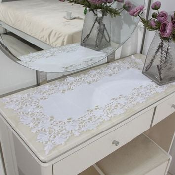 yazi White Embroidered Flower Cutwork Tablecloth Rectangle Square Lace Fabric Fridge Microwave Table Cover Decor