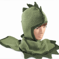 Hand Knitted Dragon Hoodie Hat Scarf Scoodie,  By Custom Order Only
