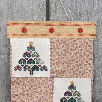 Country Christmas Wall Hanging, Fabric Folk Art Holiday Banner, Cream Red & Green, Heart Trees and Gingerbread Men, Burlap Button Top