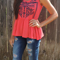 Pippa Tank in Coral