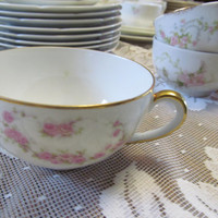 Single Floral Tea Cups Aich Czechoslovakia Heavy Floral Design French Tea Cups and Saucer Limoges Fine China Tea Cup Set Tea Cups with Roses