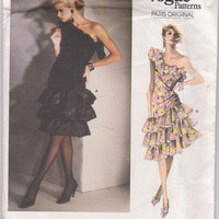 Vintage 1980s Paris Original pattern by Givenchy for one-shoulder cocktail dress with tiered, ruffled skirt misses size 12 Vogue 1702 UNCUT