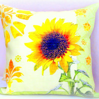 Flower blossom throw pillows – 20x20 pillow cover – Sunflower bench home accent chair cushion cover – Handprinted outdoor pillows sham decor