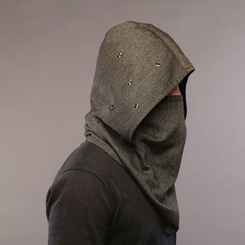 Futuristic clothing / Wool hooded scarf / Men scarf /Men neck warmer / Scarf hood / scarves for women / snood scarf / Mens scarves