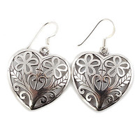 Filigree Large Silver Heart Earrrings