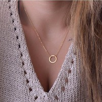 NK602 New Fashion Steampunk Dainty Collier Jewelry Cheap Hollow Circle Round Minimalist Chain Pendant Necklace For Women Jewelry