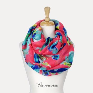 Hibiscus Flower Infinity Scarf with Sparkle - 6 Colors to Choose From