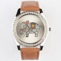 Filigree Elephant Watch Tan One Size For Women 23825341201