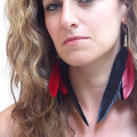 Feather Dangle Earrings, Black and Red Feather Cluster, Silver lever Back Hooks
