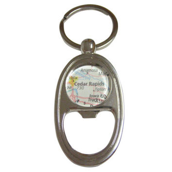 Cedar Rapids Iowa Map Bottle Opener Key Chain