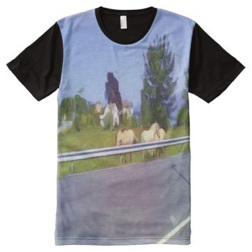 Horses on some grass next to the road All-Over-Print T-Shirt