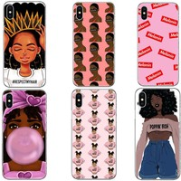 2bunz Melanin Poppin Aba Case For iPhone X XR XS Max Fashion Black Girl Hard PC Phone Cover For iPhone 5 5S SE 6 6SPlus 7 8 Plus