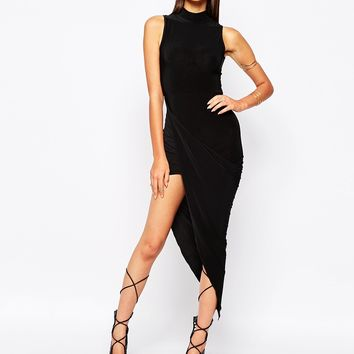 Club L Slinky High Neck Dress With Ruched Wrap Skirt Detail at asos.com