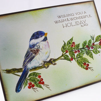Original Handpainted OOAK, NOT A PRINT, Watercolor Card Christmas Card,  Peace and Joy. Handmade Greeting Card, Winter Card, Chickadee