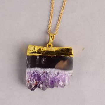 Square Crystal Pendant Necklace