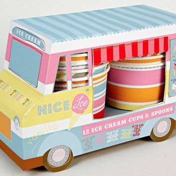 Ice Cream Van Ice Cream Cups and Spoons by HeyYoYo on Etsy