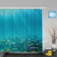 Underwater Coral Reef Bathroom Shower Curtain Marine Life Designs Shower Curtains Waterproof Mildew Polyester Fabric With Hooks