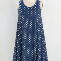Americana Short Length Sleeveless Tent The Swingingest Spots Dress in Blue Dots by ModCloth