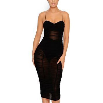 Spring and summer new fashion sexy women's sling pleated mesh dress