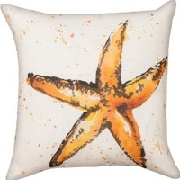 Manual Woodworkers & Weavers Climaweave Painted Starfish Indoor/Outdoor 18-in Square Decorative Throw Pillow