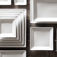Chinese Porcelain Square-Rimmed Dinnerware White | Restoration Hardware