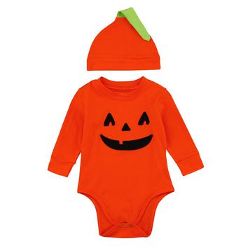 2017 New Infant Baby Boys Girls outfits Halloween Pumpkin Romper Jumpsuit+Hat 2Pcs Clothes orange baby clothing for newborns